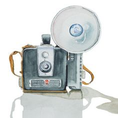 Kodak Brownie Hawkeye Camera with Flash and Case, Watercolor Painting