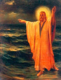 Philip Richard Morris. Christ Walking on Water. oil painting