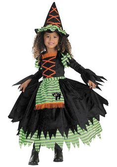 This Toddler Storybook Witch Costume makes a great classic Halloween costume for girls, and a fun first costume for toddlers!