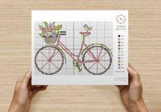 C Summer vélo et fleurs roses Cross Stitch Chart