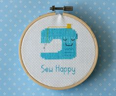 Sewing machine cross stitch pattern: Sew Happy  by StompCreations