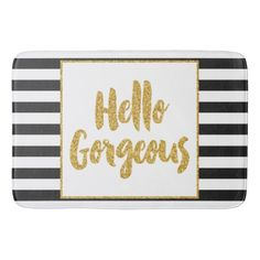 Hello Gorgeous Black & White Gold Glitter Stripes Bathroom Mat