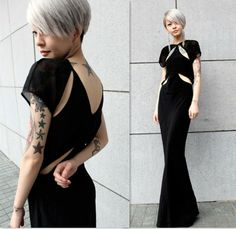 Floor Length  There is so much going on with this dress. It would be perfect for a black tie event but at the same time, we could see it turning into a nice dressed down look with a good jean jacket and no earrings. LOVE!