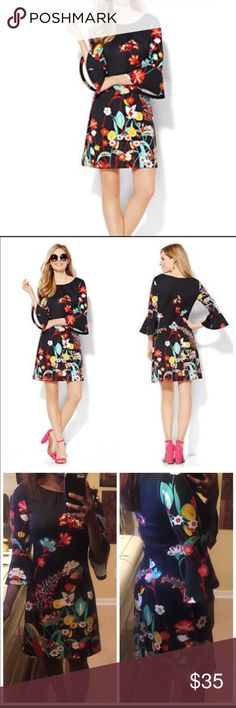 Black Popping Floral Bell Sleeve Dress Description: beautiful day or night dress. Shift fit, floral print, round neckline, back zipper closure. Flared bell sleeves.  Fabric: 95% polyester, 5% spandex Size: Small Color: multi colored, black, red green etc Brand: NY&CO Similar Brands:  lilly pulitzer 🌸 kate spade 🌸 chico's  🌸 ann  taylor LOFT 🌸 betsey johnson 🌸 bebe New York & Company Dresses