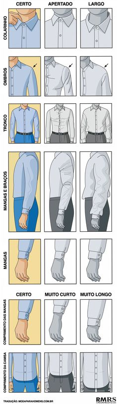 Fashion infographic : Fashion infographic : Fashion infographic & data visualisation How a Dress Shirt should fit Via In - Infographic Cool - Roupas Fashion Infographic, Style Masculin, Men Dress, Shirt Dress, Look Man, Moda Casual, Men Style Tips, Gentleman Style, Mode Style