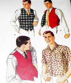 Sewing Pattern  Mens 60s Vest Shirt Mad by hookandneedlepattern, $5.00