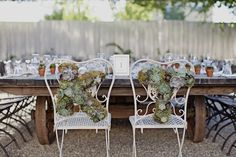 succulent initials as chair back decor | Traci Griffin Photography