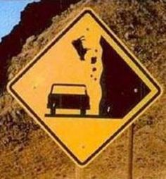 Falling Cows???Must have happened more than once for them to put up a sign!!