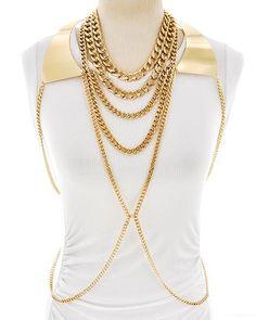 ShopChameleon - Heavy Metal Gold Body Chain, $49.99 (http://www.shopchameleon.com/spring-2014-fashion-trends/heavy-metal-gold-body-chain-necklace/)