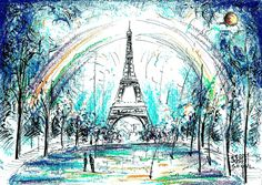 Paris, France Oil pastels and marker A4