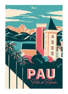 Vintage Travel Poster - Pau -PORTE DES PYRENEES - France. www.marcel-biarritz.com