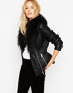 ASOS Biker Jacket with Oversized Faux Fur Collar $98.53