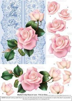 Roses on Lace - Pale Pink on Blue - Mothers Day by Judith Flavel Beautiful roses…
