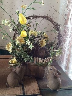 Bunny Nest Basket from Gatherings at Muncy Creek Barn Works Easter Flower Arrangements, Easter Flowers, Spring Flowers, Easter Centerpiece, Easter Crafts, Easter Decor, Easter Ideas, Quilling, Easter Party