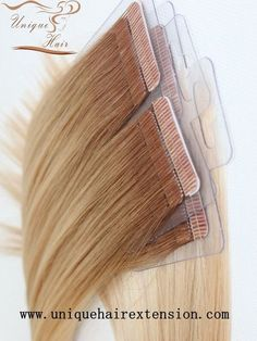 Ombre Tape In Hair Extensions Qingdao Unique Hair Products Co.,Ltd.produce the best quality ombre tape in extensions for hair salons. Ourtape in hairisproducing with pure 100% remy human hair and premium hypoallergenic tape adhesive that is strong, safe and non-damaging. Our tape extensions are made with an anti-shedding technology which feature a unique sew line on the tape