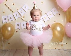 Pink and Gold First Birthday Outfit Girl, Cake Smash Outfit Girl, First Birthday Tutu, Baby Tutu Dress, Birthday Girl Tutu Baby Romper Gold First Birthday Outfit, First Birthday Tutu, Pink Birthday, First Birthday Parties, First Birthdays, Birthday Banners, Farm Birthday, Princess Birthday, Birthday Invitations