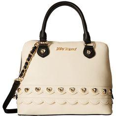 Betsey Johnson Wavy Days Dome Satchel (Cream) Satchel Handbags ($108) ❤ liked on Polyvore featuring bags, handbags, chain strap handbag, pink purse, faux-leather handbags, dome satchel and zipper purse