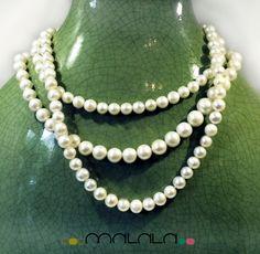 Collar de perlas cultivadas de agua dulce en diferentes tamaños