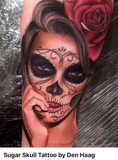 115 Santa Muerte Magnificent ideas for the unique tattoo designs Tattoo Girls, Skull Girl Tattoo, Sugar Skull Tattoos, Girl Tattoos, Totenkopf Tattoos, Tattoo Henna, Arm Tattoo, Sleeve Tattoos, White Tattoos