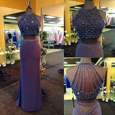 two pieces prom dress,charming prom dress,long prom dress,purple prom dress,party dress,BD613