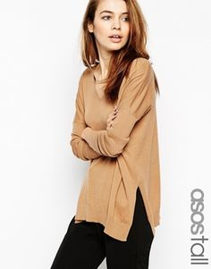ASOS Tall V-neck Jumper With Side Splits