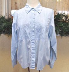 Coldwater Creek Classic Embellished Blouse Shirt L Ice Blue Party Slacks Jeans #ColdwaterCreek #ButtonDownShirt #CasualParty