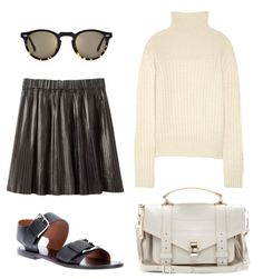 Proenza Schouler bag, The Row turtle-neck, Marni Sandals, Isabel Marant leather skirt and Cutler & Gross sunglasses Ps1 Bag, Suitcase Bag, Cutler And Gross, Proenza Schouler, Isabel Marant, The Row, Leather Skirt, Turtle Neck, Leather
