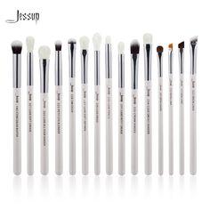 Jessup Brand Pearl White/Silver Professional Makeup Brushes Set Make up Brush Tools kit Eye Liner Shader natural-synthetic hair