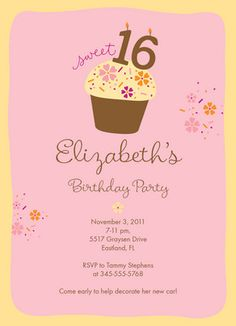 Sweet Cupcake Party Birthday Invitation