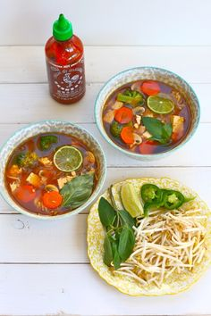 Homemade vegetarian pho noodle soup, loaded with veggies and flavor. Must try!!