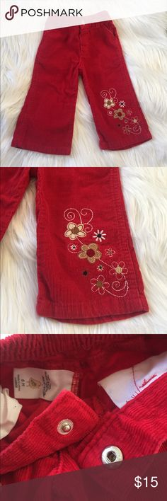 """Red Corduroy Pants Red Corduroy Pants with embroidered flowers on the front of left leg. Brand """"starting out"""", size 6 months. Like new condition. Starting Out Bottoms Jeans"""