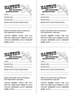 Secret santa template for the office christmas pinterest secret santa gift exchange forms secret santa questionnaire templates http pronofoot35fo Images