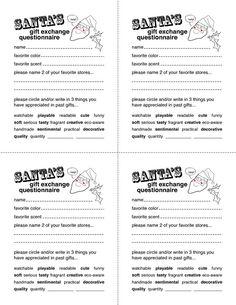 Secret Santa Gift Exchange Forms | Secret Santa Questionnaire Templates http://www.docstoc.com/docs ...:
