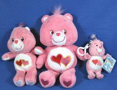 Care Bear Pink Love-A-Lot  Bear Plush Lot Of Three(3) Animals TCFC 2001/02 #AllOccasion