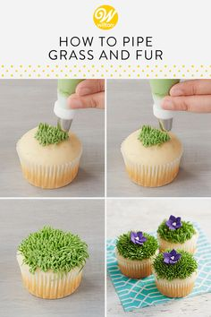 How to Pipe Grass & Fur Piping grass or fur out of buttercream is one of the easiest decorations to do! You can achieve the look in three easy steps. Use this technique for any of your sports themed desserts or treats that needs a little texture! Buttercream Cake Decorating, Buttercream Cupcakes, Deco Cupcake, Cupcake Cakes, Cupcake Piping, Fondant Cakes, Cake Decorating Tutorials, Cookie Decorating, Cupcake Decorating Techniques