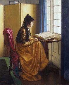 Lendo à janela Harold Knight (Inglaterra, 1874-1961) óleo sobre madeira,  61 x 51 cm