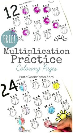 Multiplication Coloring Pages: Easy Practice for Kids {FREE} Properties Of Multiplication, Multiplication Practice, Maths, Multiplication Strategies, Math Math, Math Fractions, Commutative Property, Printable Math Worksheets, Free Printables