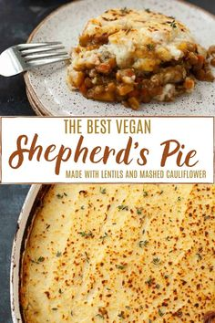 Vegan Lentil Shepherd's Pie with Mashed Cauliflower Hearty and satisfying plant-based comfort food. This vegan lentil shepherd's pie with mashed cauliflower is so deliciously savory and perfect to enjoy on a cold winter's night. Clean Eating Vegetarian, Clean Eating Recipes, Vegetarian Recipes, Cooking Recipes, Vegetarian Diets, Vegetarian Options, Healthy Recipes, Vegetarian Cabbage Soup, Vegan Shepherds Pie