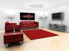 Furniture, Marvellous Red Scheme Wall Mount Tv Design Ideas And Red Sofa For Living Room Also Glass Coffe Table Set: Wall Mount TV Design Ideas For Mid Century Modern Living Room
