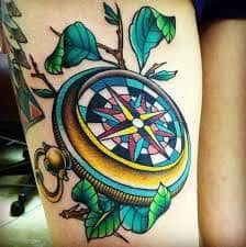 Colorful pocket compass tattoo--- This is freaking amazing! I wish I saw this before I got my own compass tattoo Great Tattoos, Trendy Tattoos, Leg Tattoos, Beautiful Tattoos, Body Art Tattoos, White Tattoos, Arrow Tattoos, Word Tattoos, Tatoos