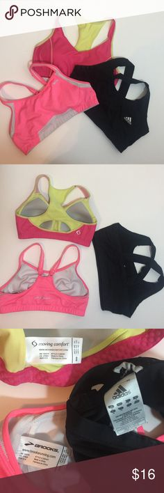 Sports bra bundle! 3 sports bra, all size medium! Brands are moving comfort, brooks, and adidas. Dark pink is padded, light pink and black are not. Light pink had adjustable straps. All in really good condition! Smoke free home! Adidas Intimates & Sleepwear Bras