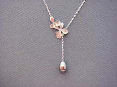 Double Orchids Silver GreyTeardrop Pearl Lariat by ACutieChick, $26.00