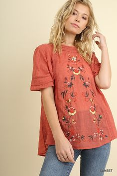 0fa5f72048f5f0 Umgee floral embrodered short sleeve peasant boho short sleeve top  35  Peasant Tops