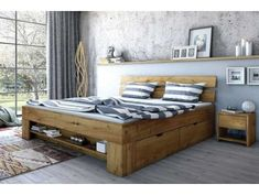 Drawers Wildeiche NEW - Bed Cama Industrial, Rustic Bedroom Furniture, Modern Bedroom, Outdoor Furniture, Outdoor Decor, Wood Beds, Diy Bed, Bedroom Bed, Home Decor Kitchen