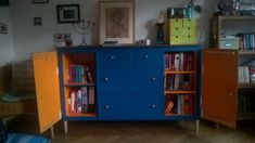 IKEA EXPEDIT turns into beautiful blue sideboard cabinet - IKEA Hackers Expedit Hack, Ikea Expedit Shelf, Ikea Kallax, Armoire Buffet, Sideboard Cabinet, Ikea Office, Office Workspace, Office Furniture Design, Space Saving Furniture