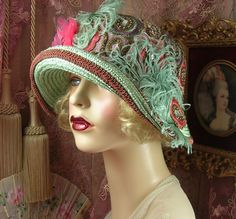 1920'S VINTAGE STYLE GREEN & PINK EMBROIDERED JEWELED FLOWER CLOCHE FLAPPER HAT