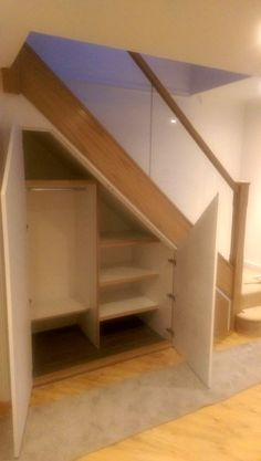 Oak and glass staircase refurb with new under stairs storage Understairs Storage Glass Oak refurb Staircase stairs storage Closet Under Stairs, Space Under Stairs, Under Stairs Cupboard, Hall Closet, Basement Stairs, House Stairs, Closet Doors, Living Room With Stairs, Basement Ceilings