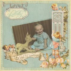 Lullaby, Little Darlings...a lively polka dot background sets off a colored b/w photo and retro design elements perfectly. ~ so sweet!