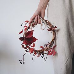 style – Grabbed a trail of Virginia Creeper on my run at the weekend and it made for a simple but pretty autumnal wreath. Sadly it's drooped now. Any recommendations for good flowers to use for a seasonal wreath this time of year? Fall Inspiration, Christmas Inspiration, Autumn Wreaths, Holiday Wreaths, Diy Wreath, Grapevine Wreath, Virginia Creeper, Fall Flowers, Creepers