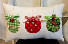 Christmas Pillow Burlap Christmas Pillow Fabric Christmas Ornaments Pillow Jingle Bell Christmas Pillow Holiday Xmas gift by sherisewsweet on Etsy Fabric Christmas Ornaments, Burlap Christmas, Farmhouse Christmas Decor, Christmas Sewing, Christmas Pillow, Christmas Bells, Christmas Trees, Farmhouse Decor, Christmas Cushions To Make